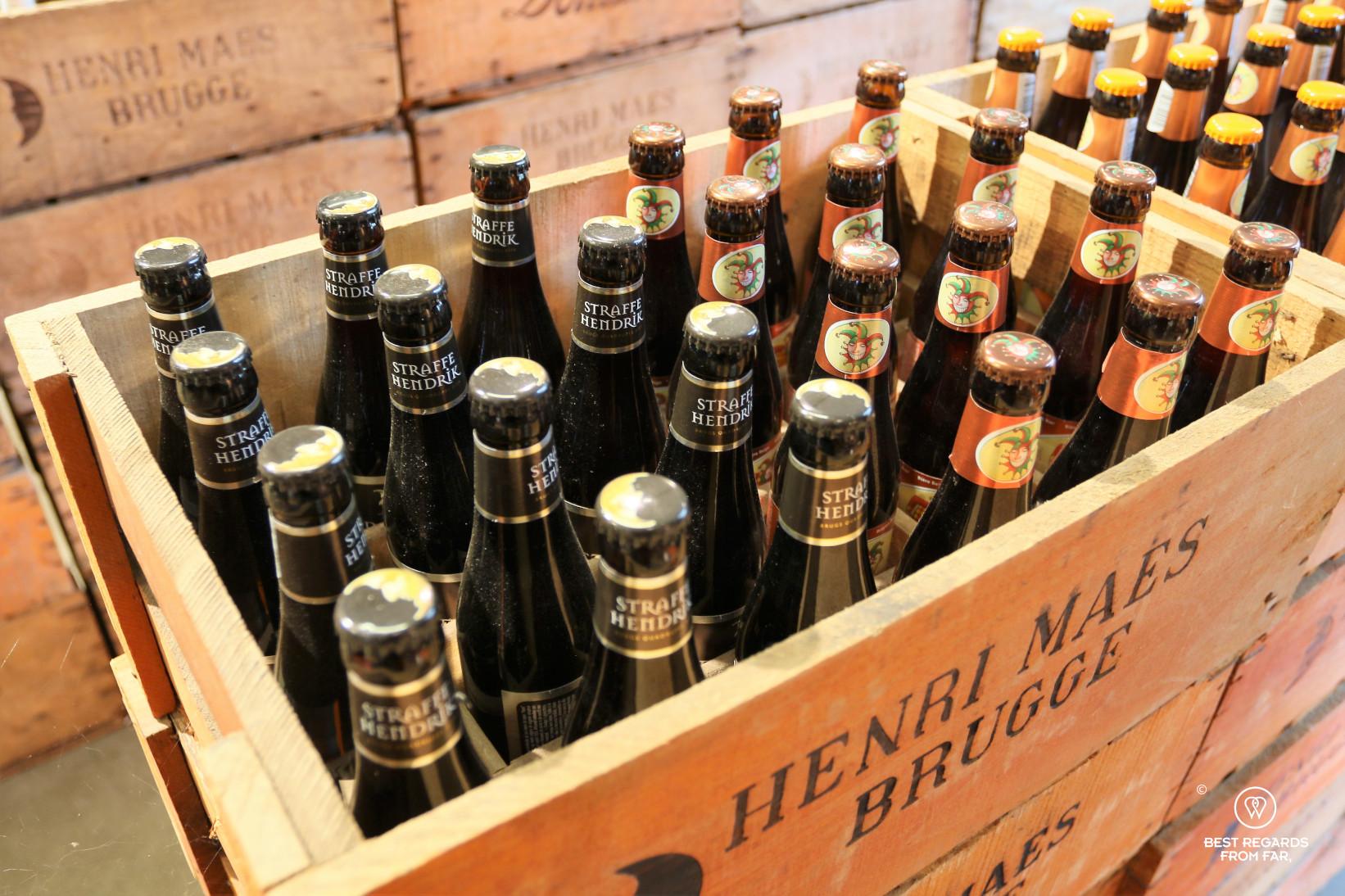 Bottles of beer at De Halve Maan brewery, Bruges, Belgium.