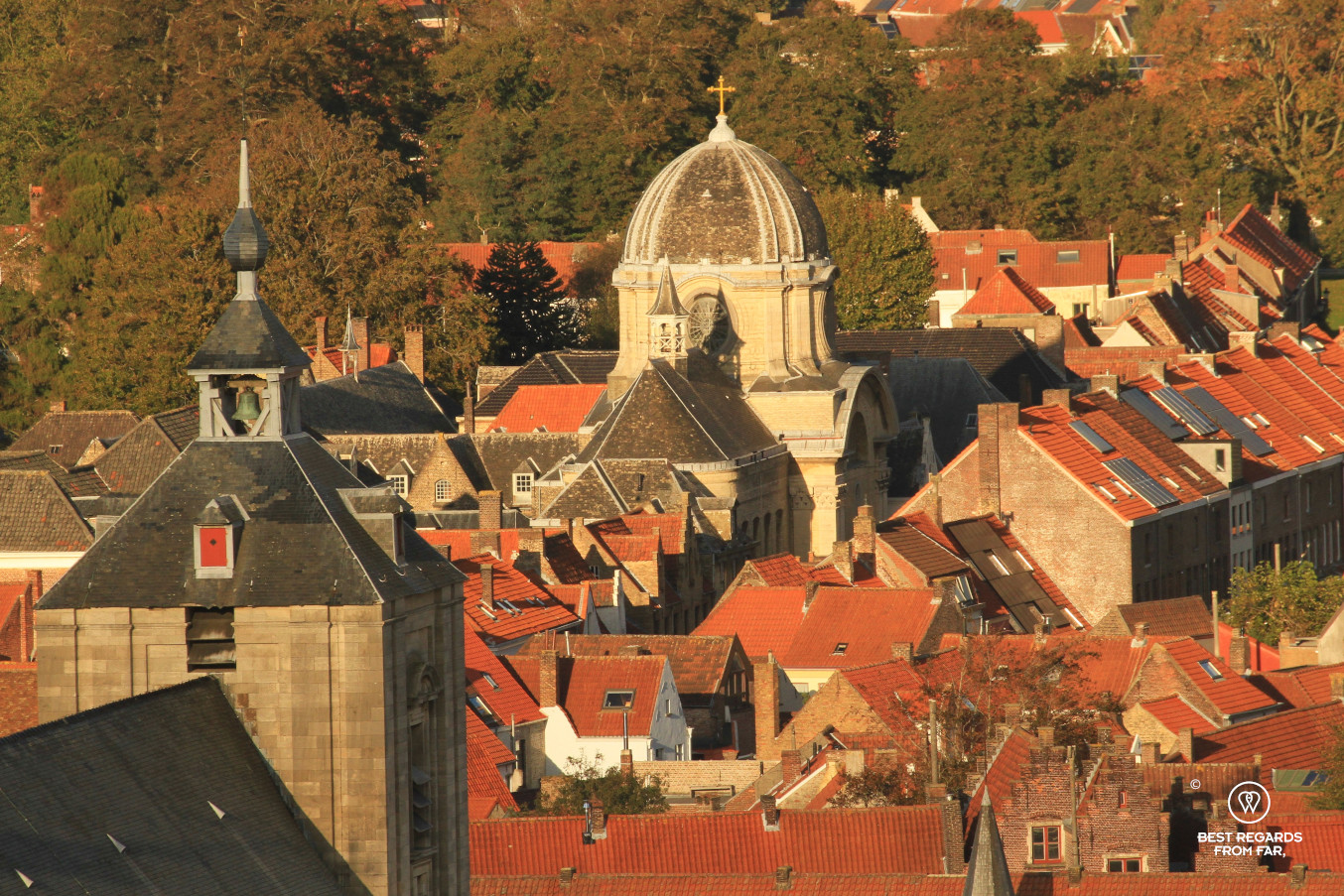 View on the English convent and its dome from the belfry, Bruges, Belgium