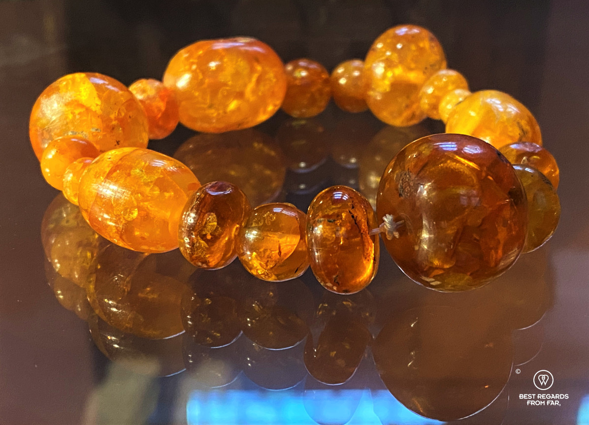 Amber bracelet on display in a museum