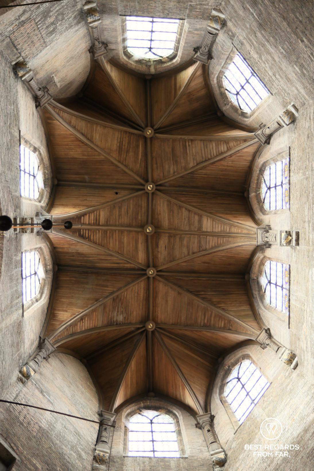 The wooden ceiling of the Jerusalem Chapel, Bruges, Belgium
