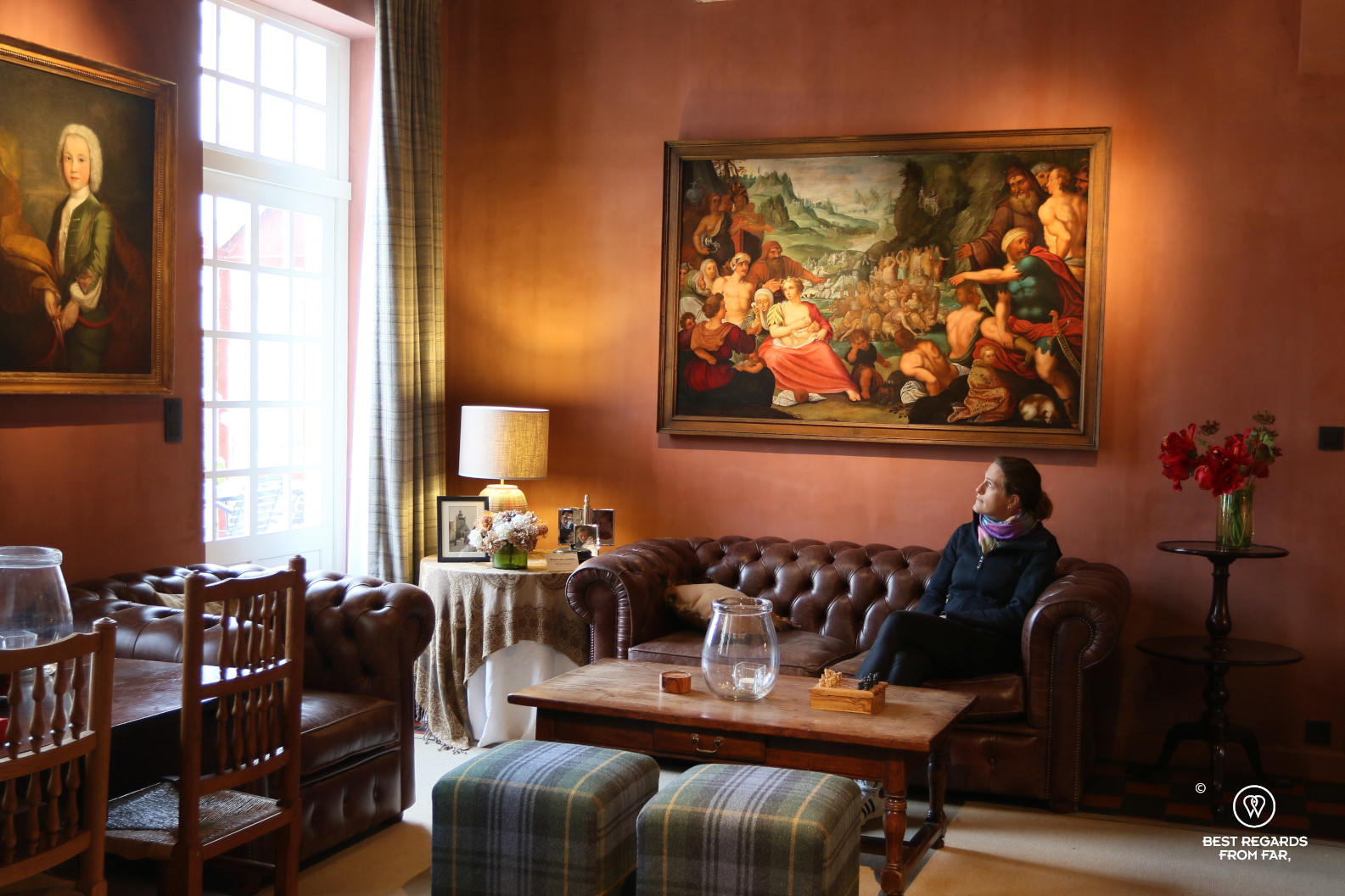 Relaxing in the cosy Scottish Lounge, Jerusalem Chapel, Bruges, Belgium.