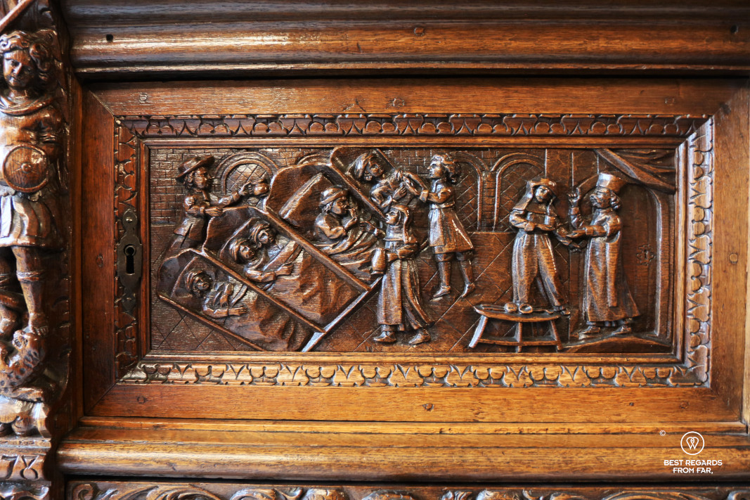 The pharmacy of the Saint John's Hospital, Bruges: detail of wood carvings.