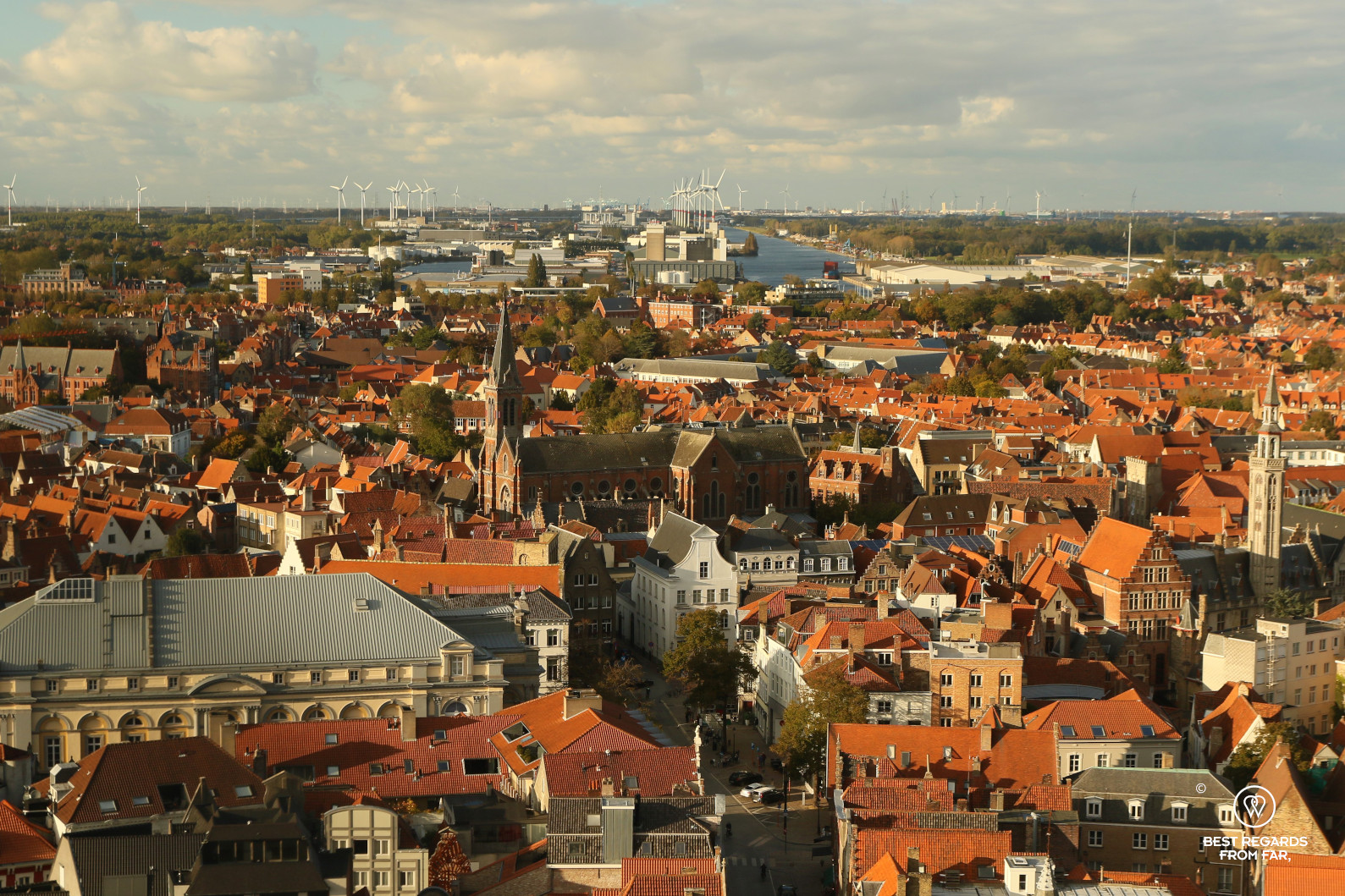 View on the harbour of Zeebrugge in the distance, Bruges, Belgium