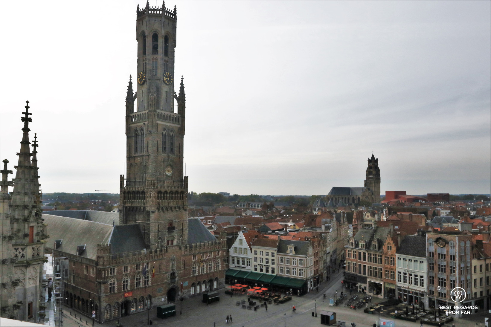 The Belfry of Bruges and the Markt Square from the Historium.