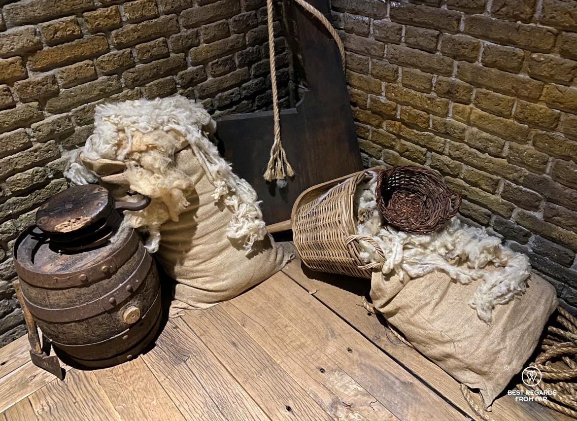 Bags of wool in the Historium Bruges, Belgium