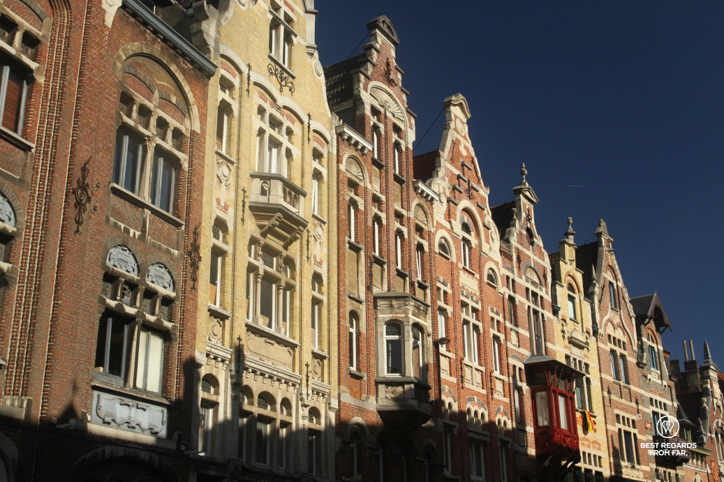 Characteristic facades of a typical street in Ghent, Belgium