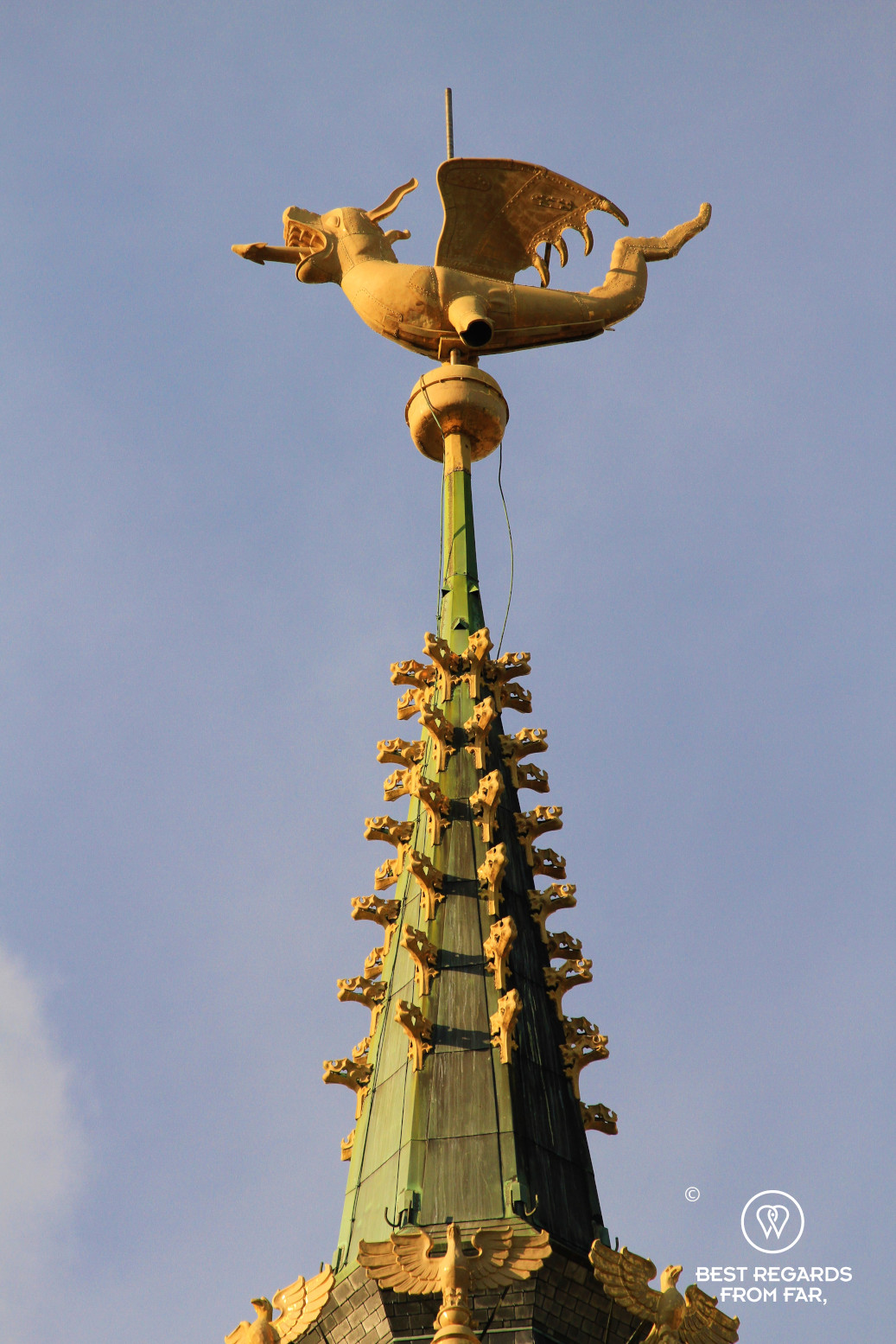 The gilded dragon on the Belfry of Ghent, Belgium