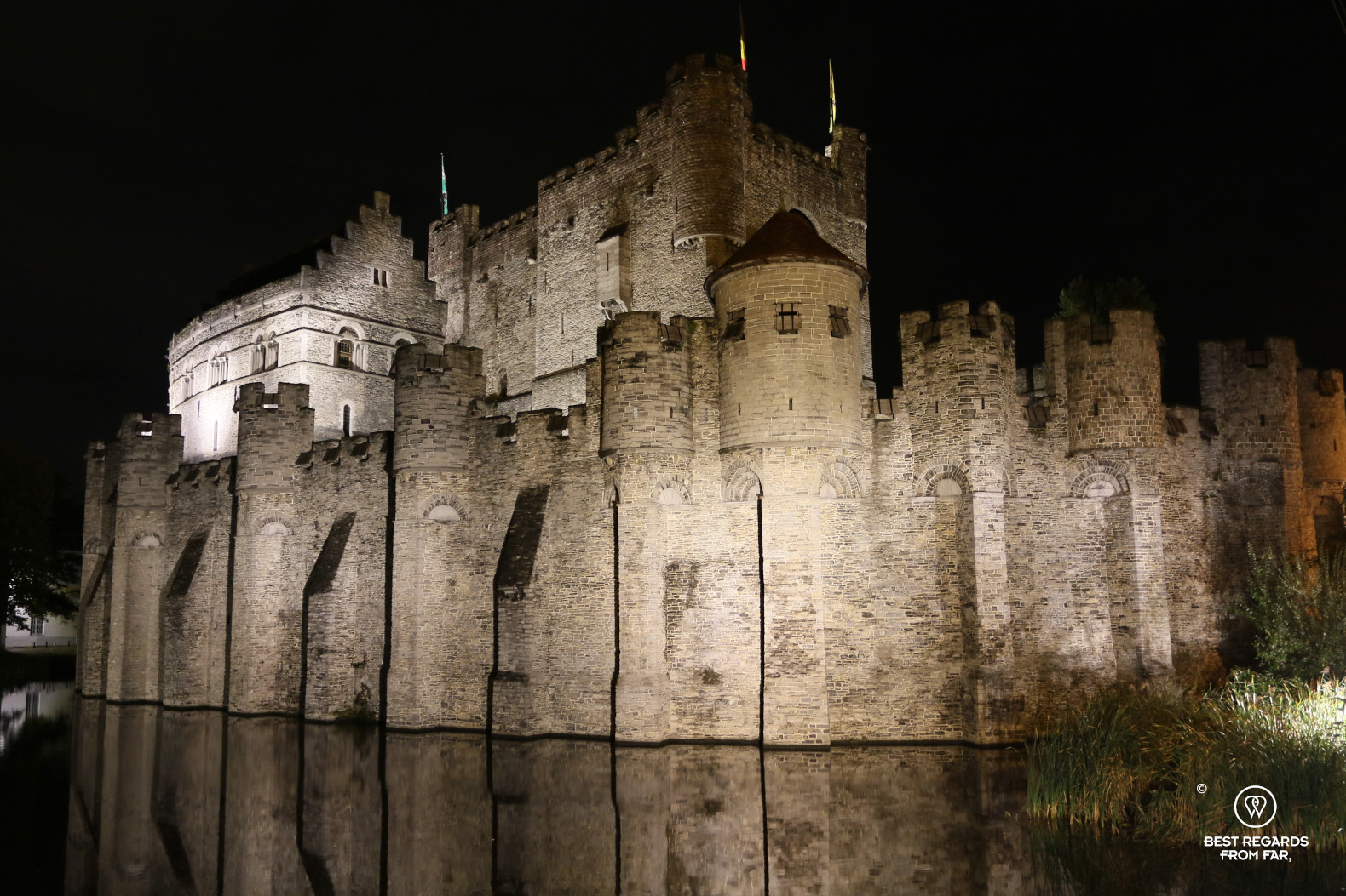 The medieval Castle of the Count by night, Ghent, Belgium