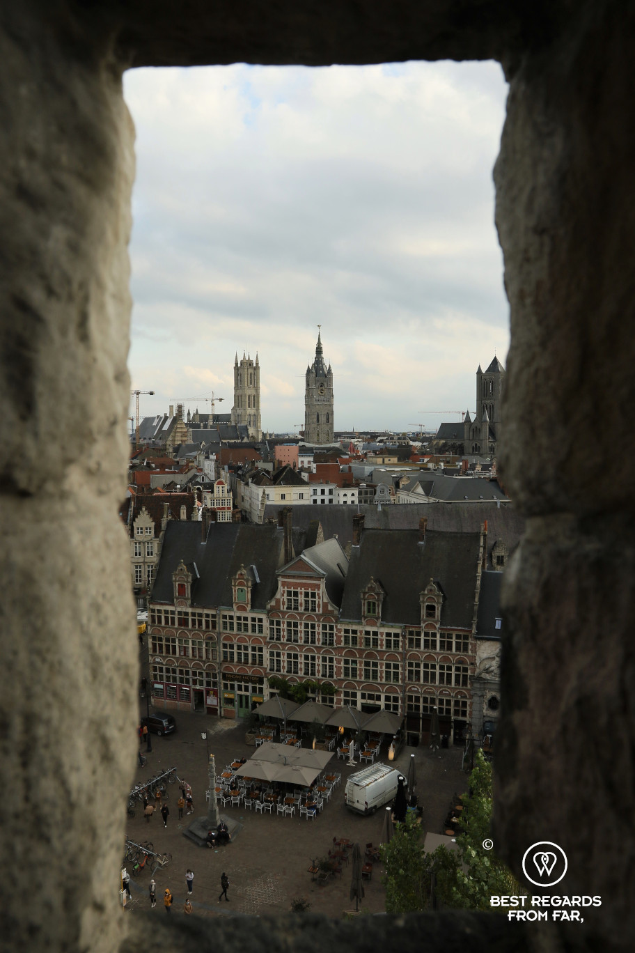 View on the skyline of Ghent, Belgium