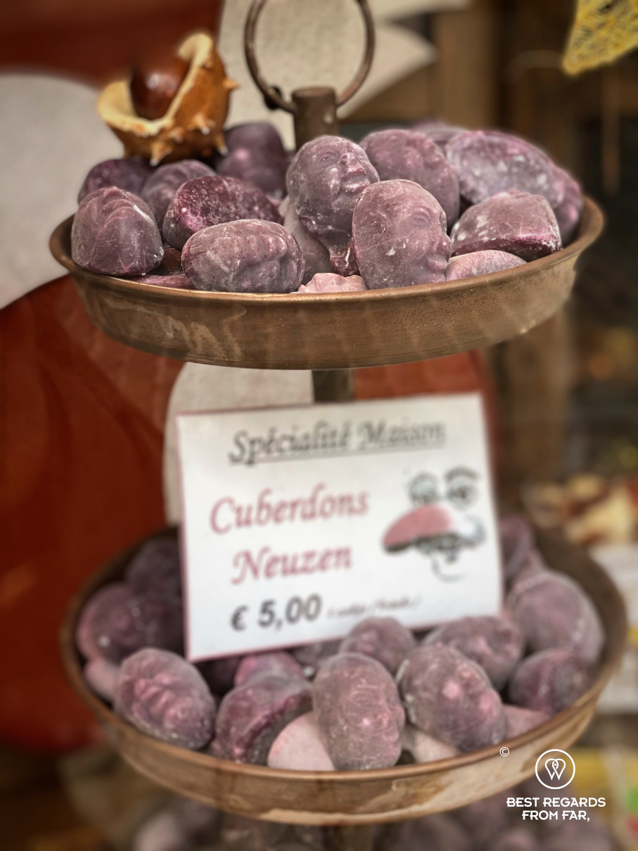 Purple candy specialties from Ghent, Belgium