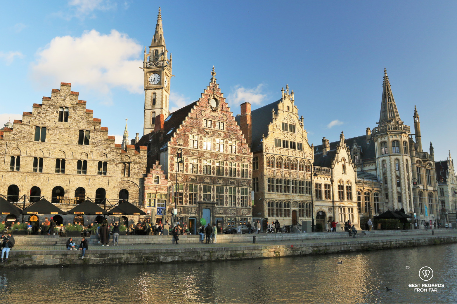 Medieval houses along the Graslei, Ghent, Belgium