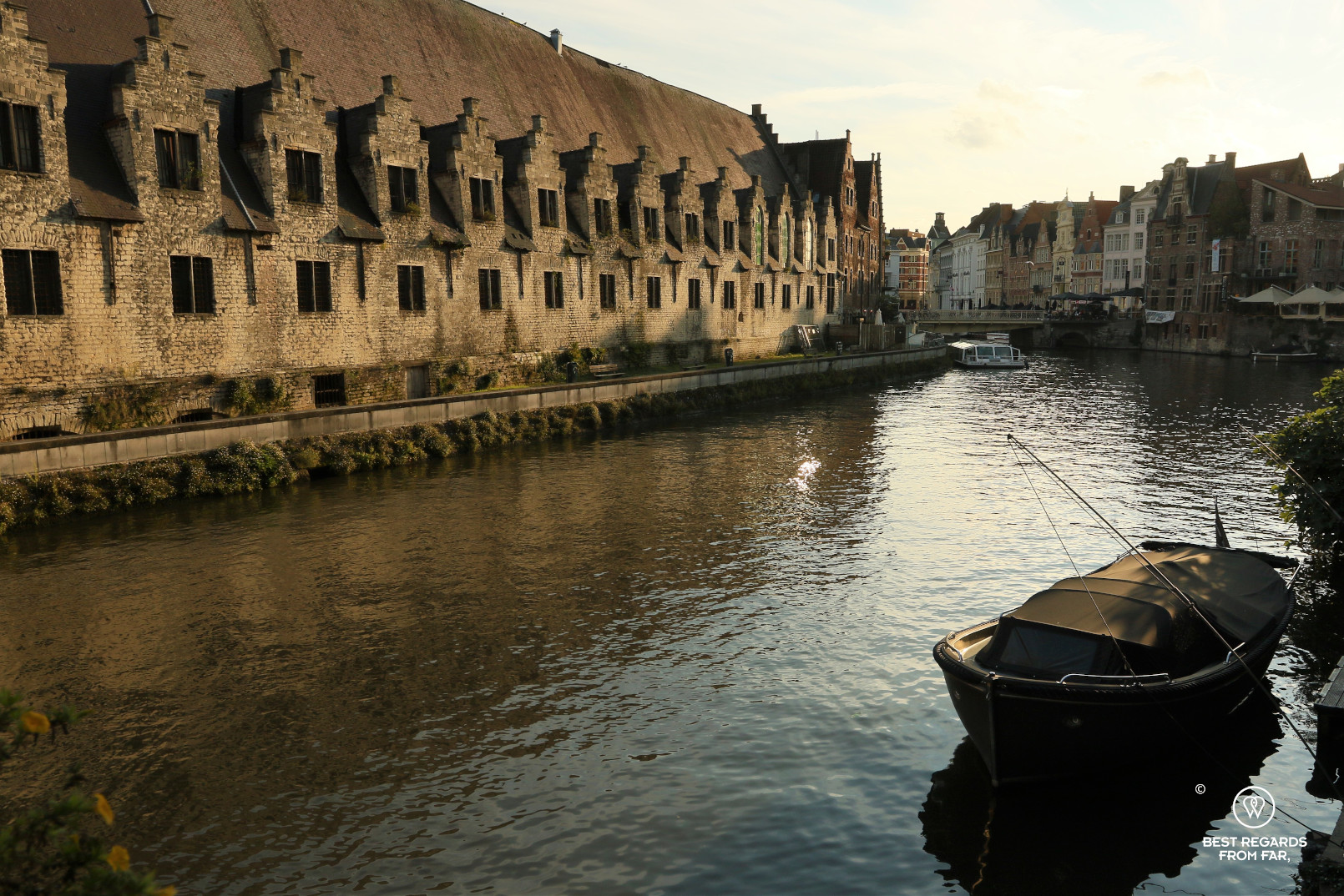 Canal with the medieval Butcher's Hall, Ghent, Belgium