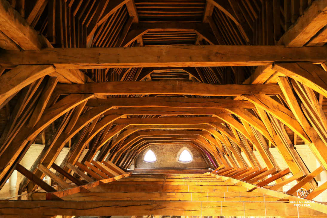 The wooden roof structure of the Great Butcher's Hall, Ghent, Belgium