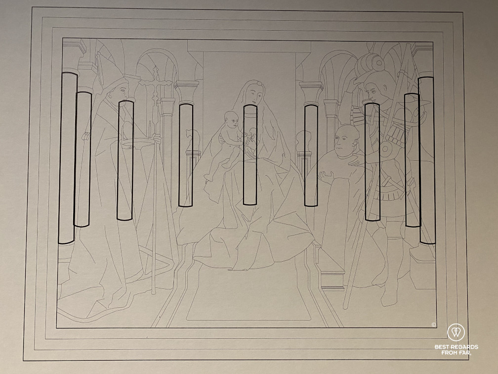 Sketch outlining the perspective in van Eyck's Virgin and Child with Canon van der Paele painting