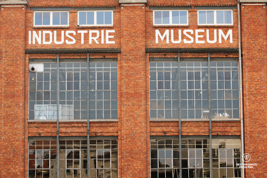 The brick facade of the Industry Museum of Ghent, Belgium