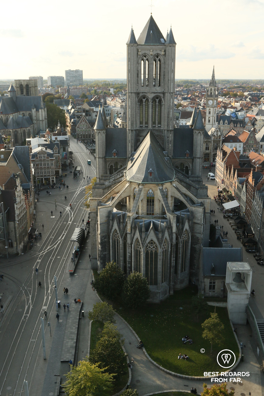 Saint Nicolas Church seen from the Belfry, Ghent, Belgium