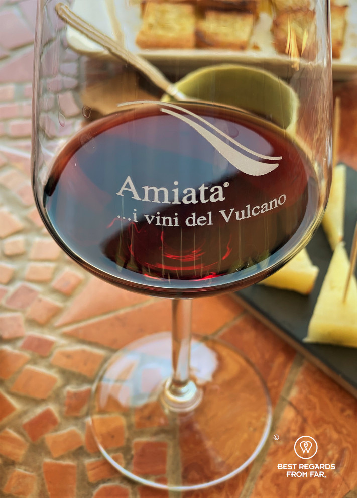 A glass of red wine from the Amiata Vineyard in Tuscany, Italy