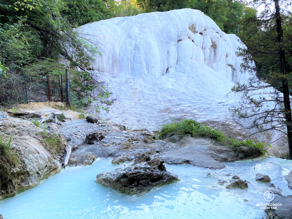 The white calciferous formations of Bagni San Filippo in the middle of nature, Tuscany, Italy
