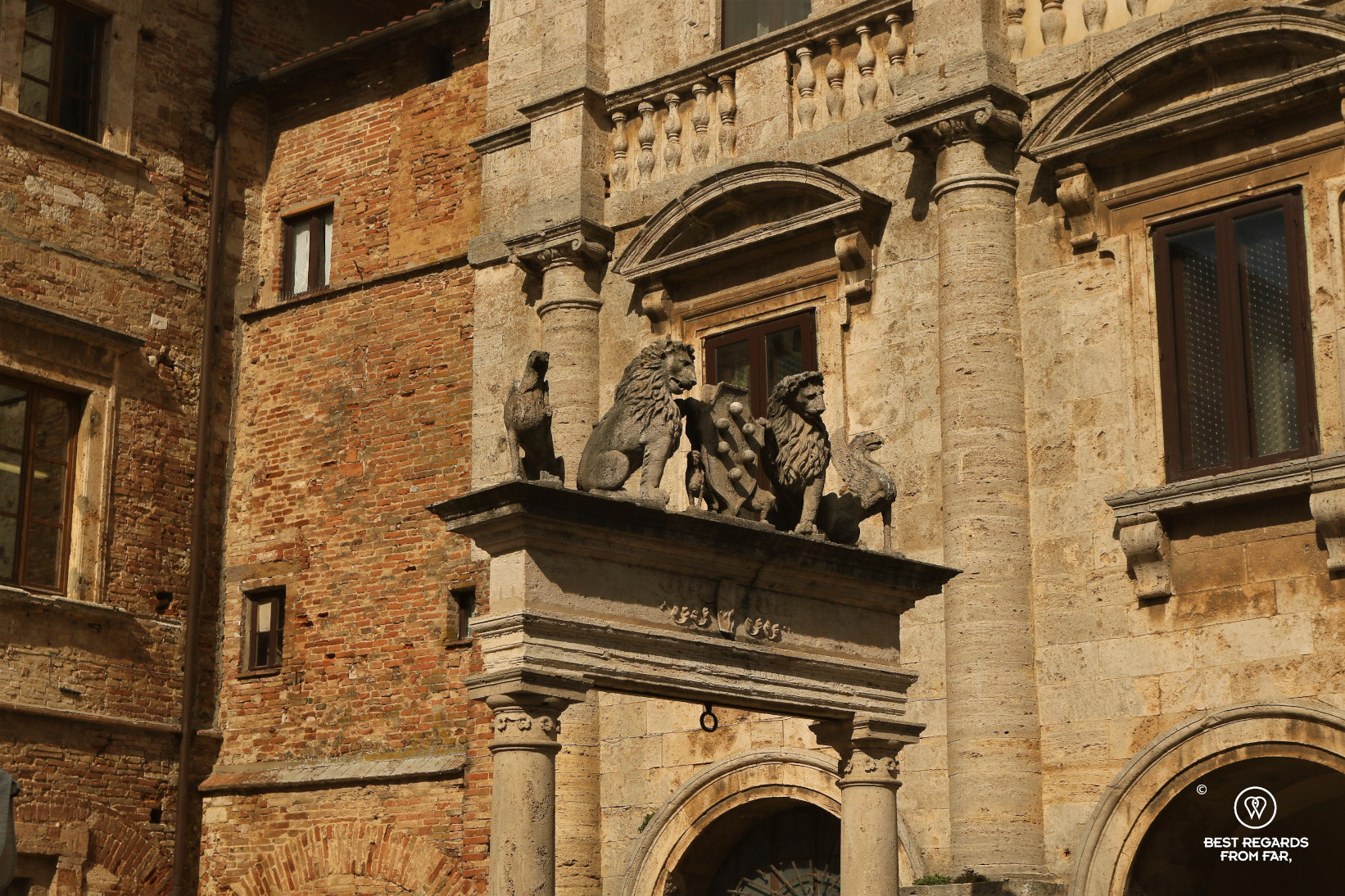 Sculpture of lions, the medici weapon and old facades in Italy