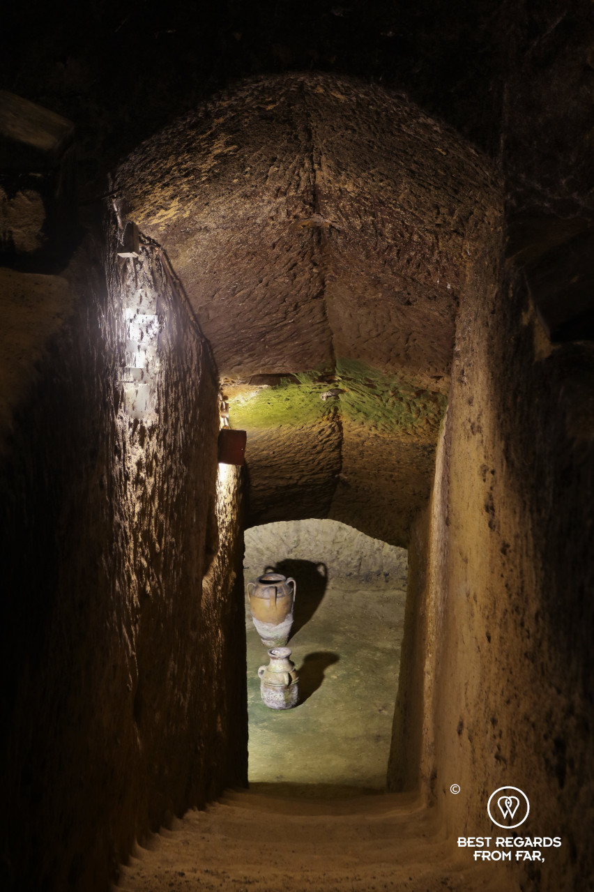 The 20-meter deep Etruscan tomb in the Ercolani cellar of Montepulciano, Italy