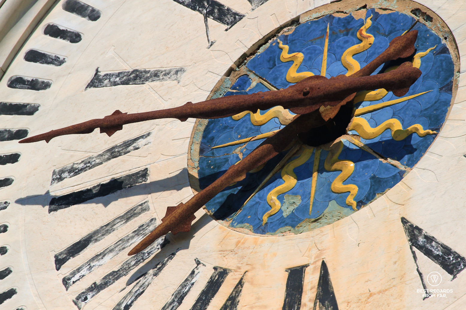 Close-up of a clock in Santa Fiora, Italy