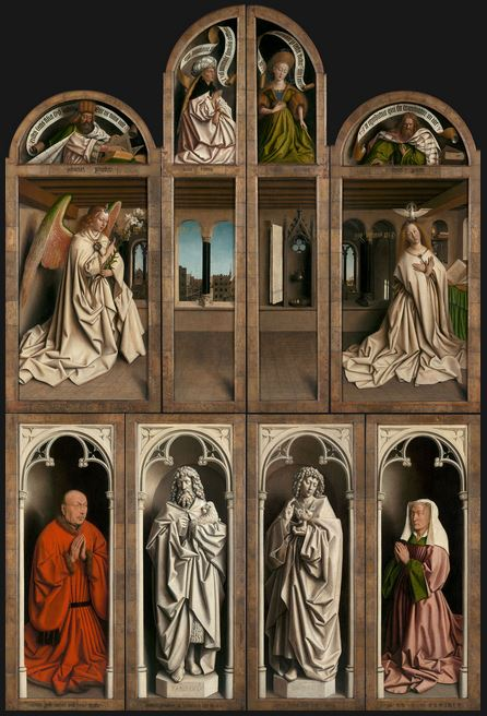 The 12 panels of the Ghent Altarpiece by Jan Van Eyck