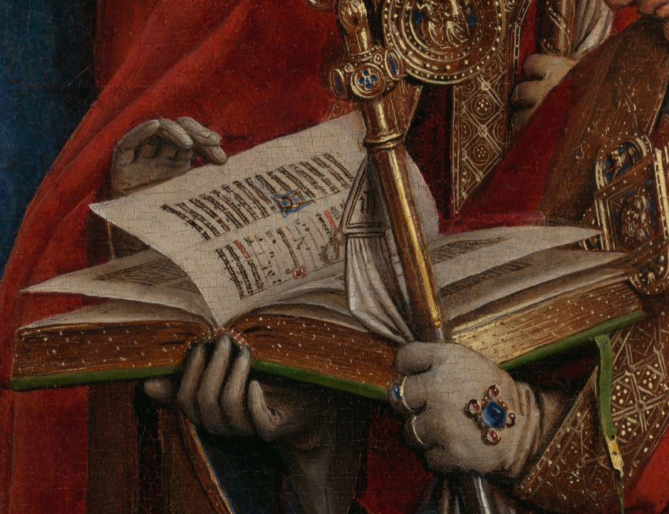 Details of a book, and clothes in the painting of the the Ghent Altarpiece by Jan Van Eyck, Belgium