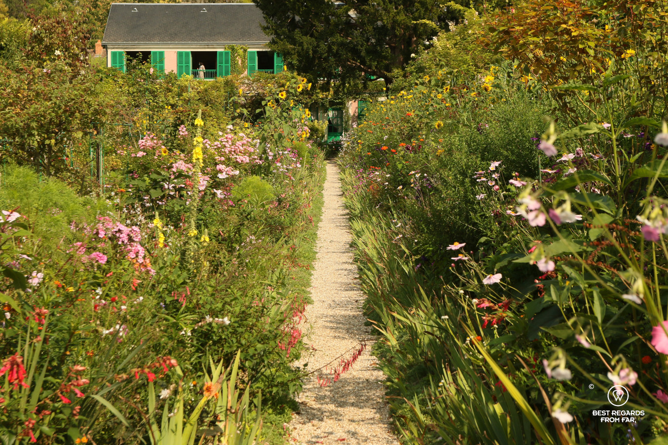 Claude Monet's garden in Giverny, France with his house in the background