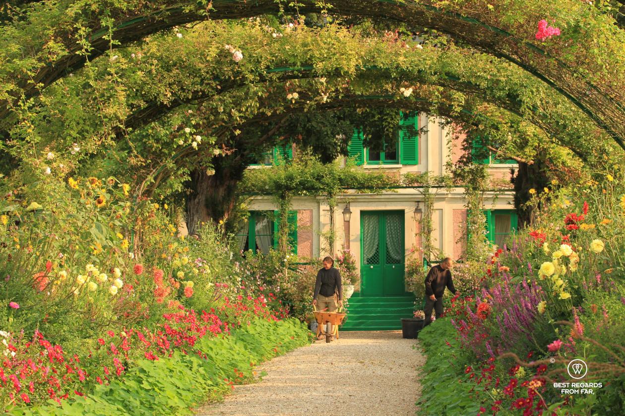 Gardeners working in Claude Monet's garden in Giverny, France