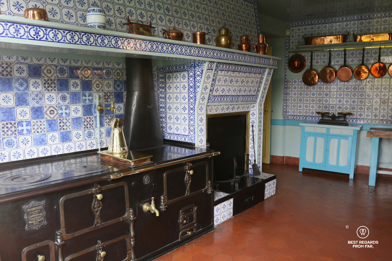 The blue kitchen in Claude Monet's house in Giverny, France
