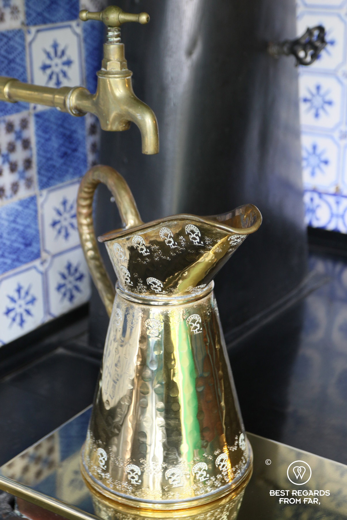 A copper jug in Claude Monet's kitchen in Giverny, France