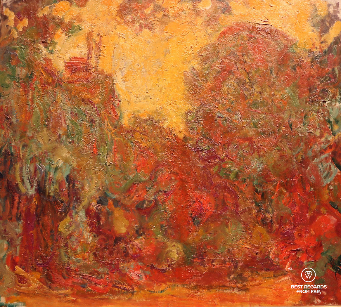 The artist's house seen from the rose garden by Claude Monet shows a red palette of colours, a consequence of his cataract