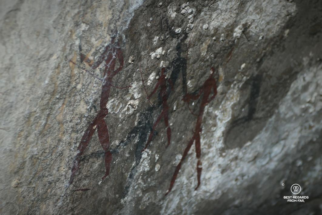 Bushmen rock art representing hunters, Drakensberg, South Africa.
