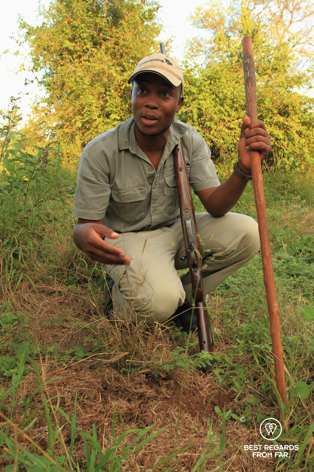 EcoTracker instructor Norman Chauke explaining about black rhino dung