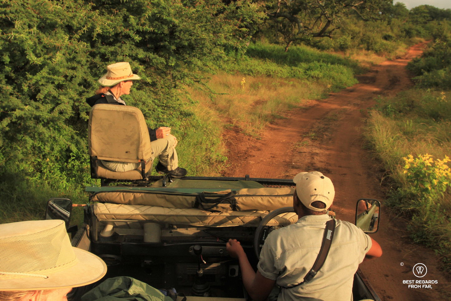 Photographer Marcella van Alphen on the tracker seat of a Land Rover game drive vehicle during the EcoTracker training by EcoTraining