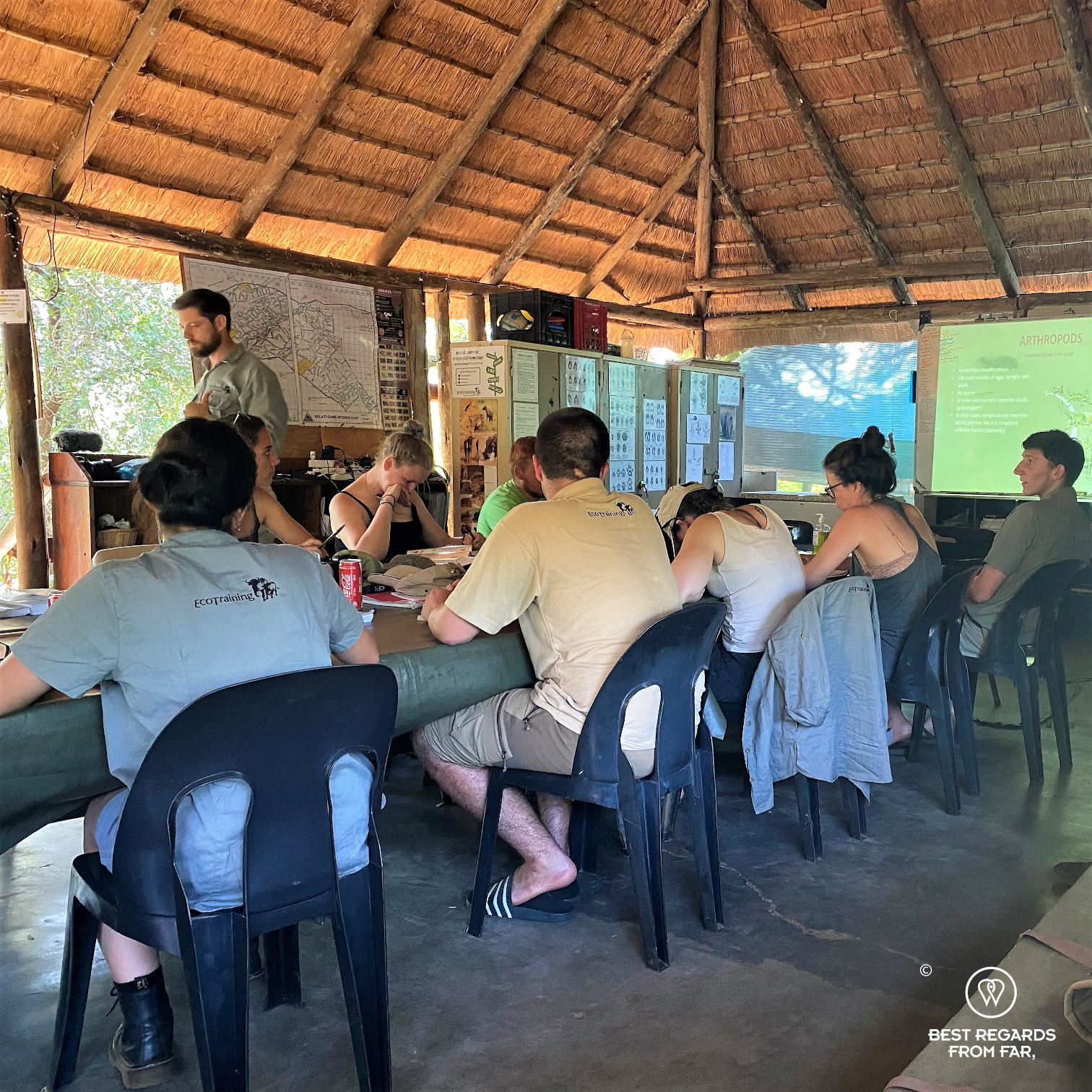 Students attending a lecture at the EcoTraining Selati camp
