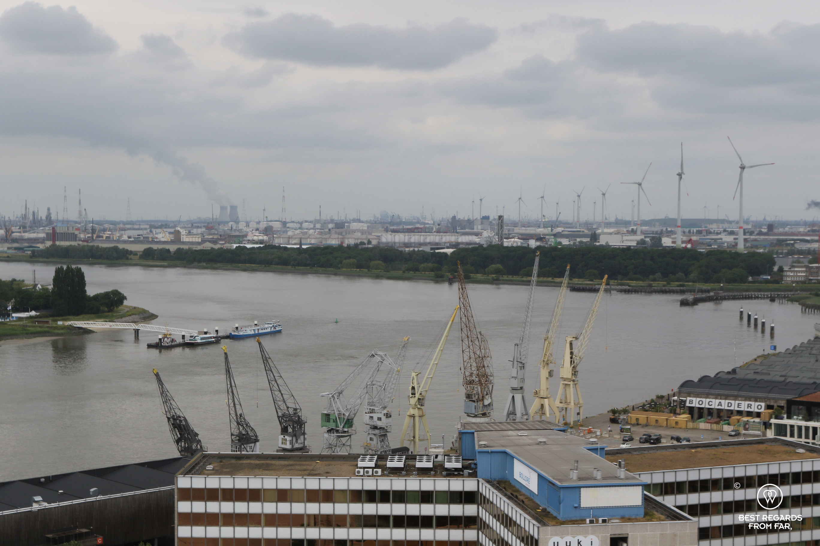 View on the industrial harbour of Antwerp from the rooftop of the MAS building