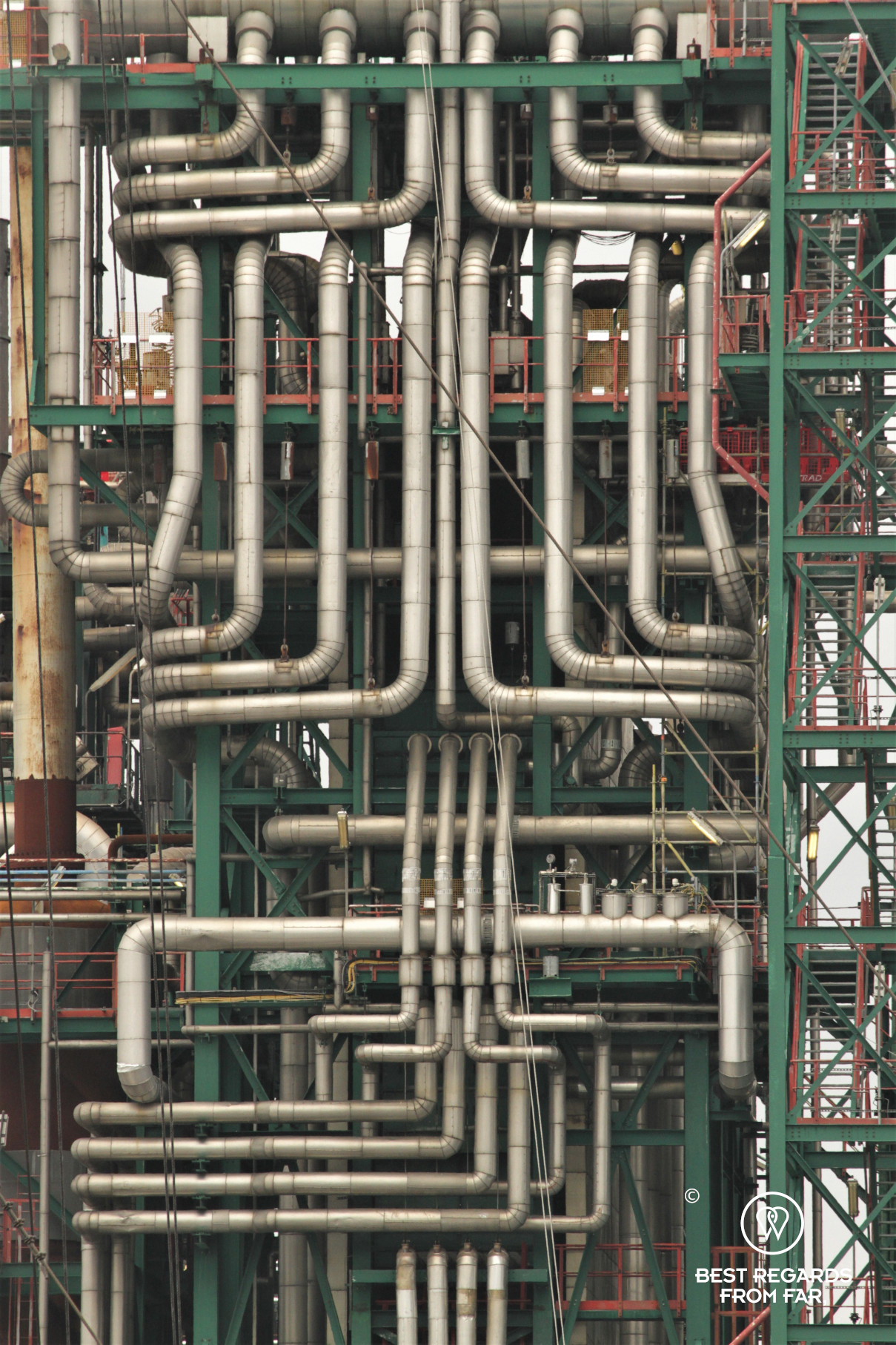 Close up of pipes in a refinery in the industrial harbour of Antwerp, Belgium