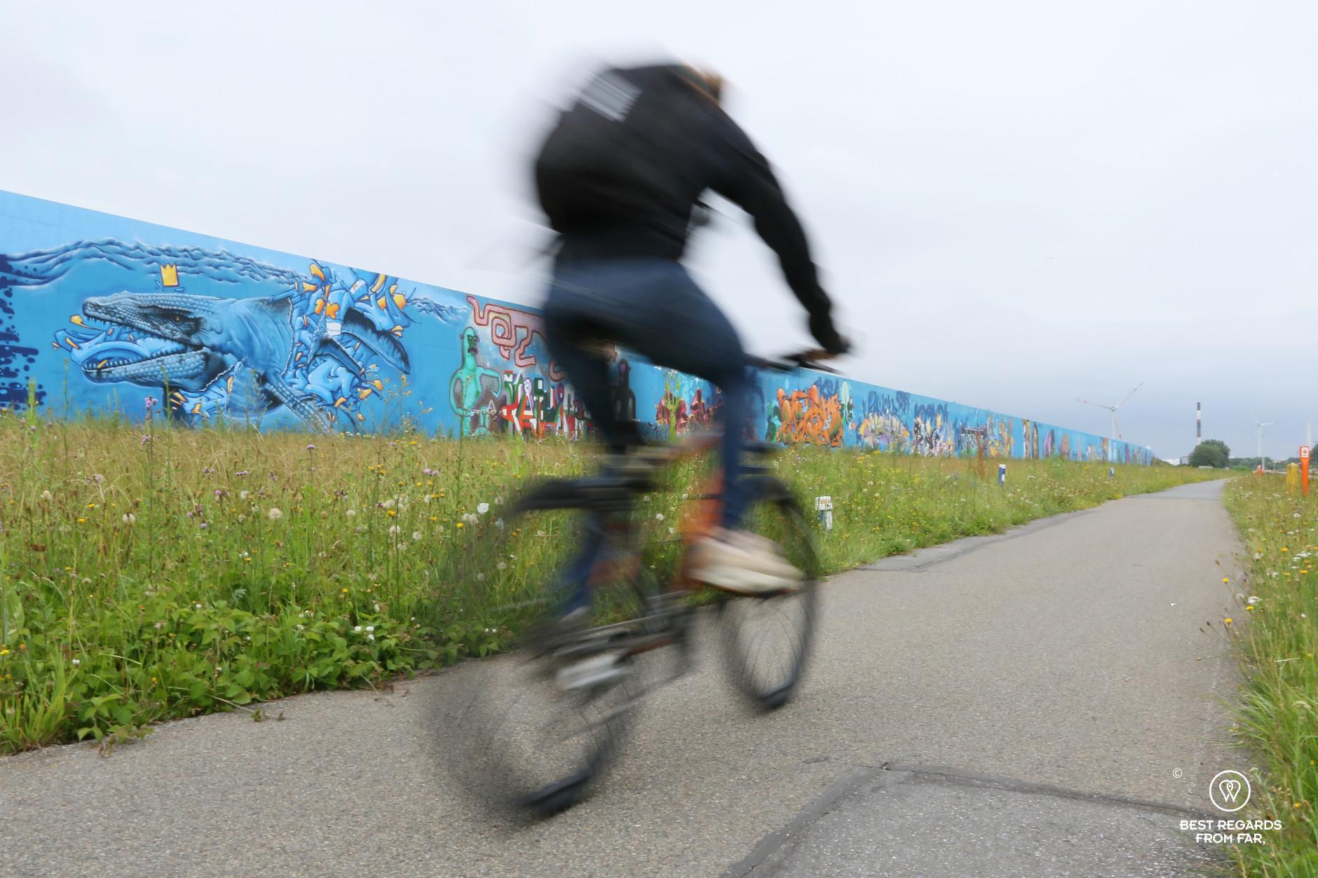 Biker passing fast in front of street art in the industrial harbour of Antwerp, Belgium