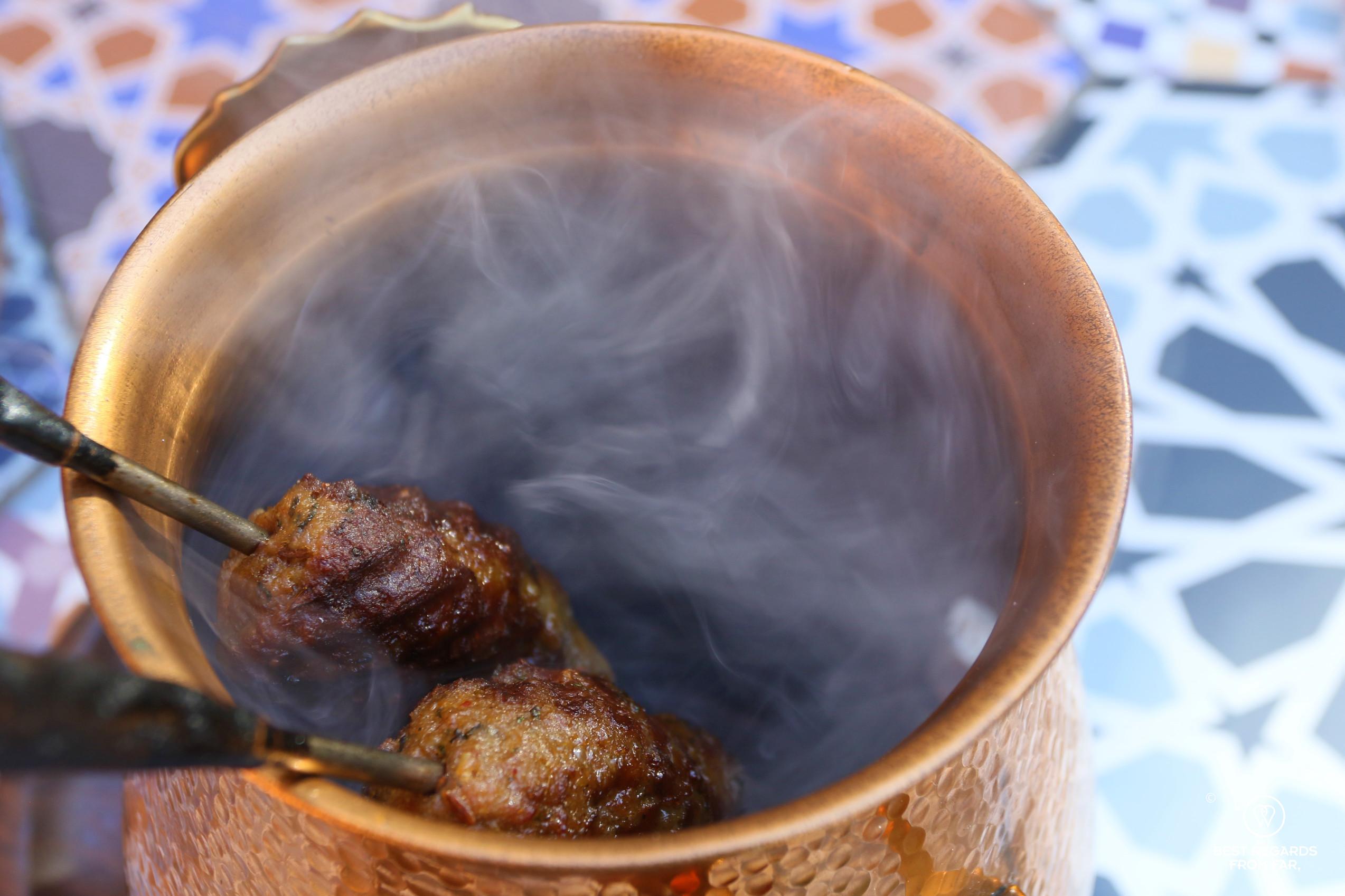 Close up on the smoking signature lamb seekh kebab, Thali, Cape Town