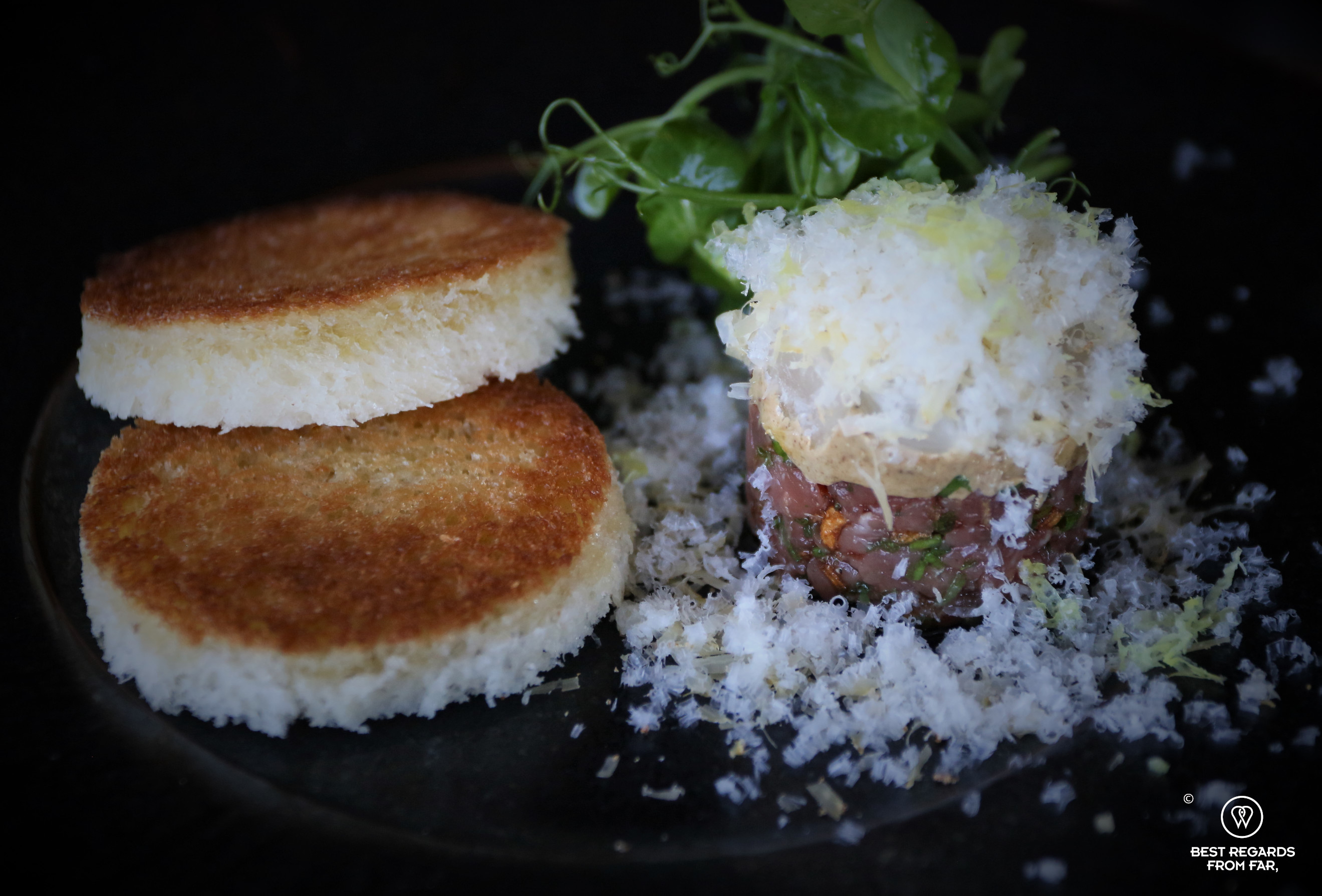 Close up on the beef tartar, Chefs Warehouse Beau Constantia