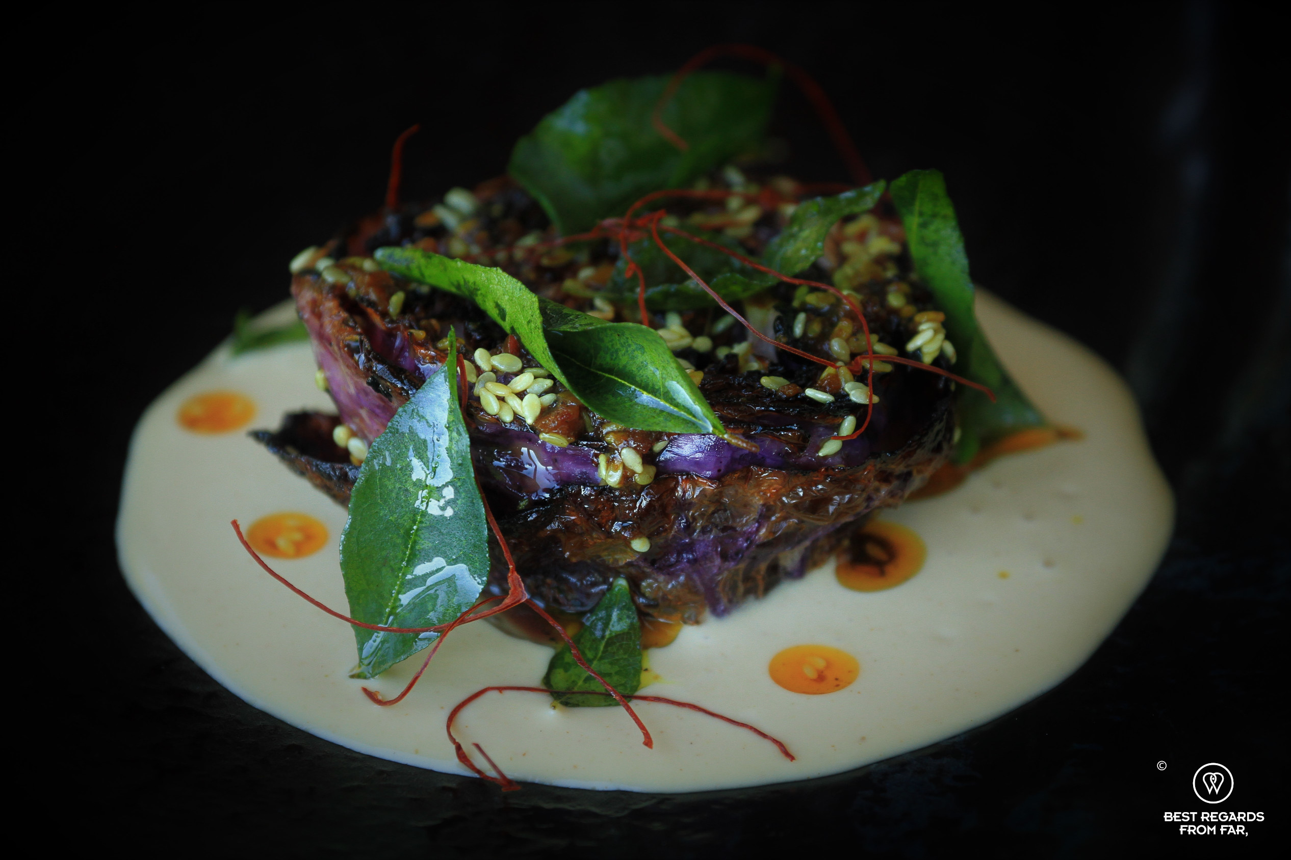Close up of the vegan braaied red cabbage, Chefs Warehouse Beau Constantia
