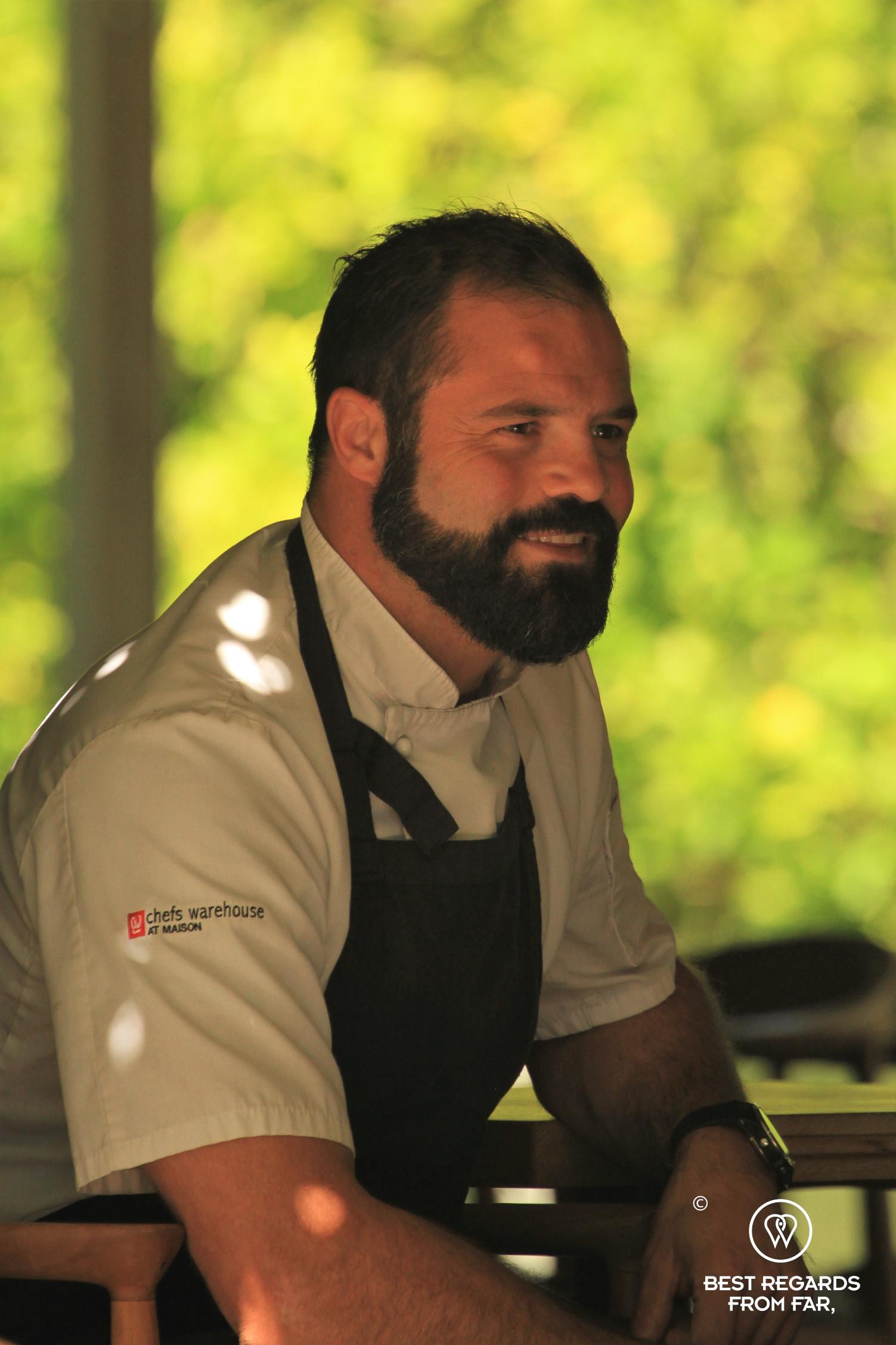 Portrait of head chef David Schneider at the Chefs Warehouse at Maison, Franschhoek
