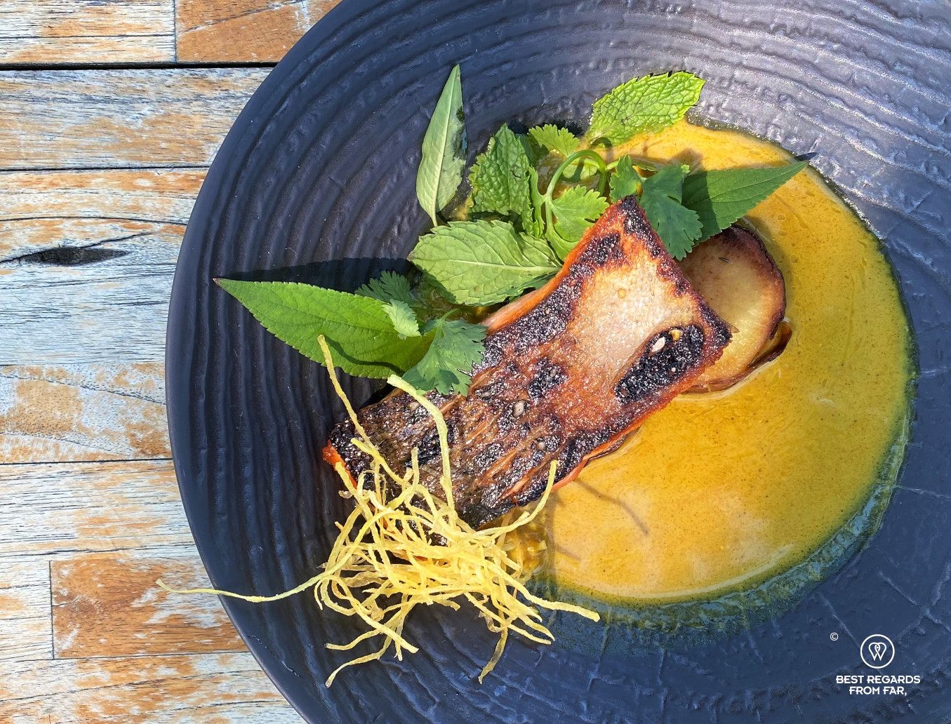 View from the top of the wild trout on a wooden table at the Chefs Warehouse at Maison, Franschhoek