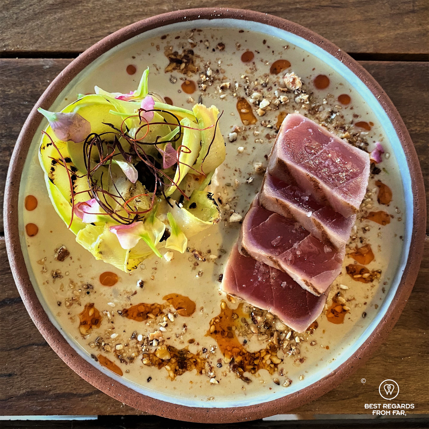 Beautiful plate of seared tuna at the Chefs Warehouse Tintswalo Atlantic taken from the top