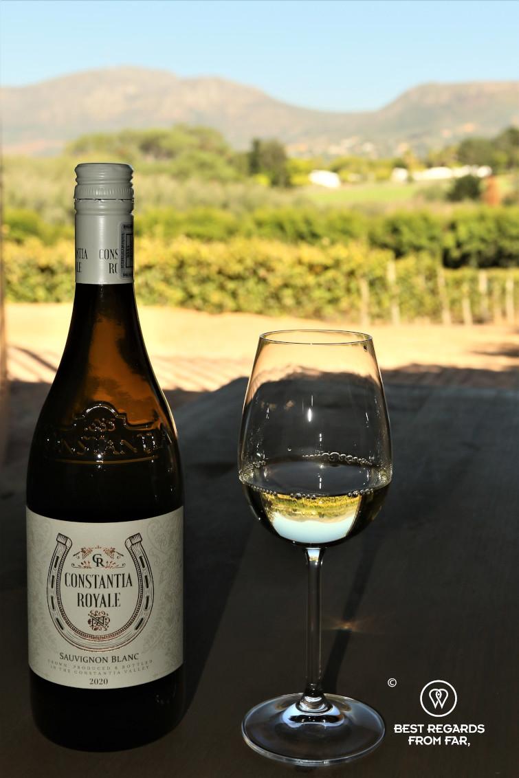 Wine tasting the Sauvignon Blanc at Constantia Royale estate, Constantia wine route, Cape Town