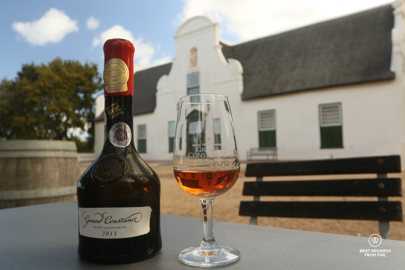 Grand Constance sweet wine in front of Cape Dutch manor, Groot Constantia, Constantia wine route, Cape Town