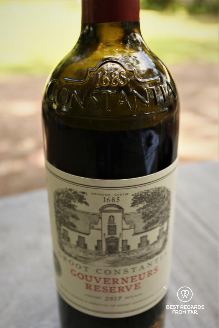 Groot Constantia Gouverneur Reserve 1685 Constantia bottle, Constantia wine route, Cape Town