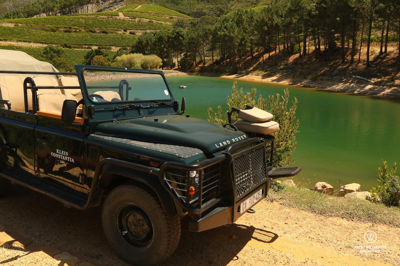 Klein Constantia wine safari with a Land Rover in the vineyard, Constantia wine route, Cape Town