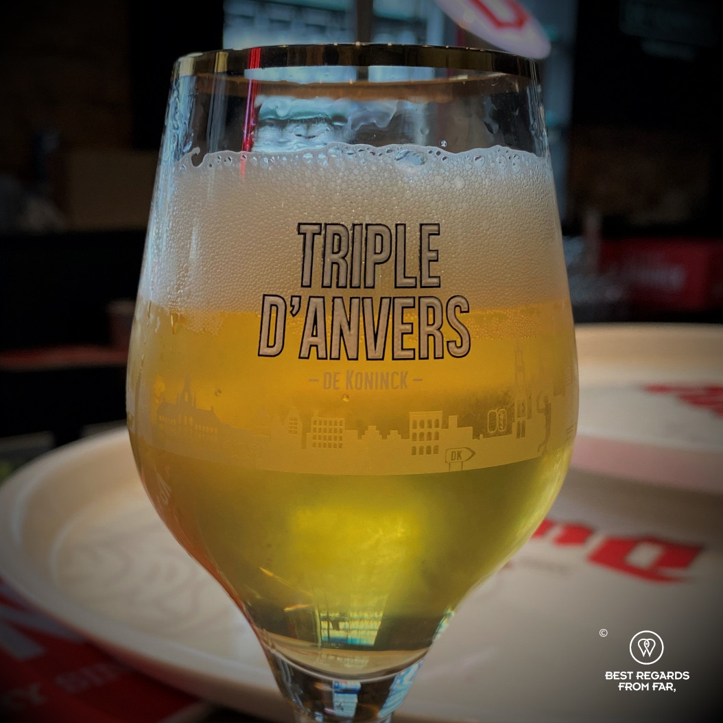 Glass of Triple d'Anvers beer by de Koninck brewery, Antwerp, Belgium